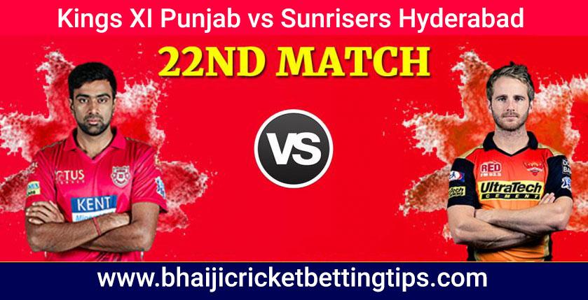 KXIP vs SRH - 22nd Match - IPL Tips
