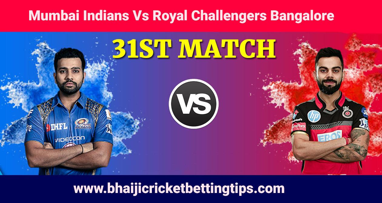 IPL 2019 - 31st Match - MI vs RCB