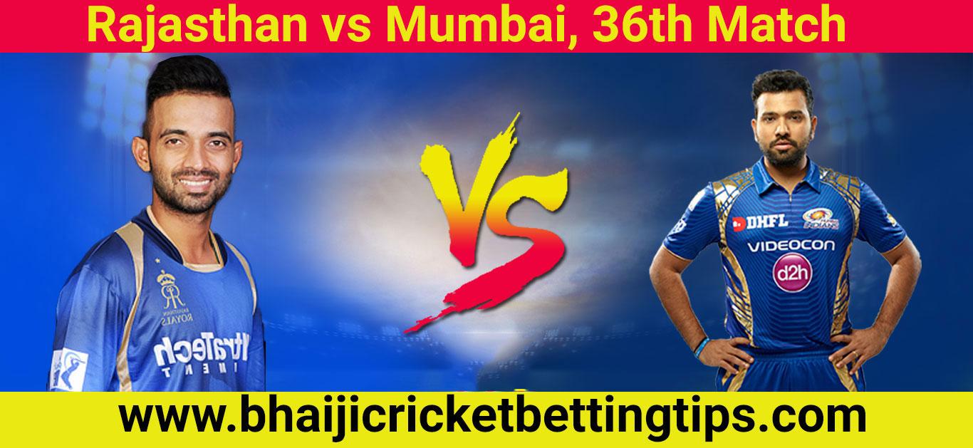 RR vs MI, 36th Match - IPL Betting Tips